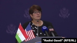 U.S. Deputy Assistant Secretary for Central Asia and Press and Public Diplomacy Emilia Puma in Dushanbe on October 24.