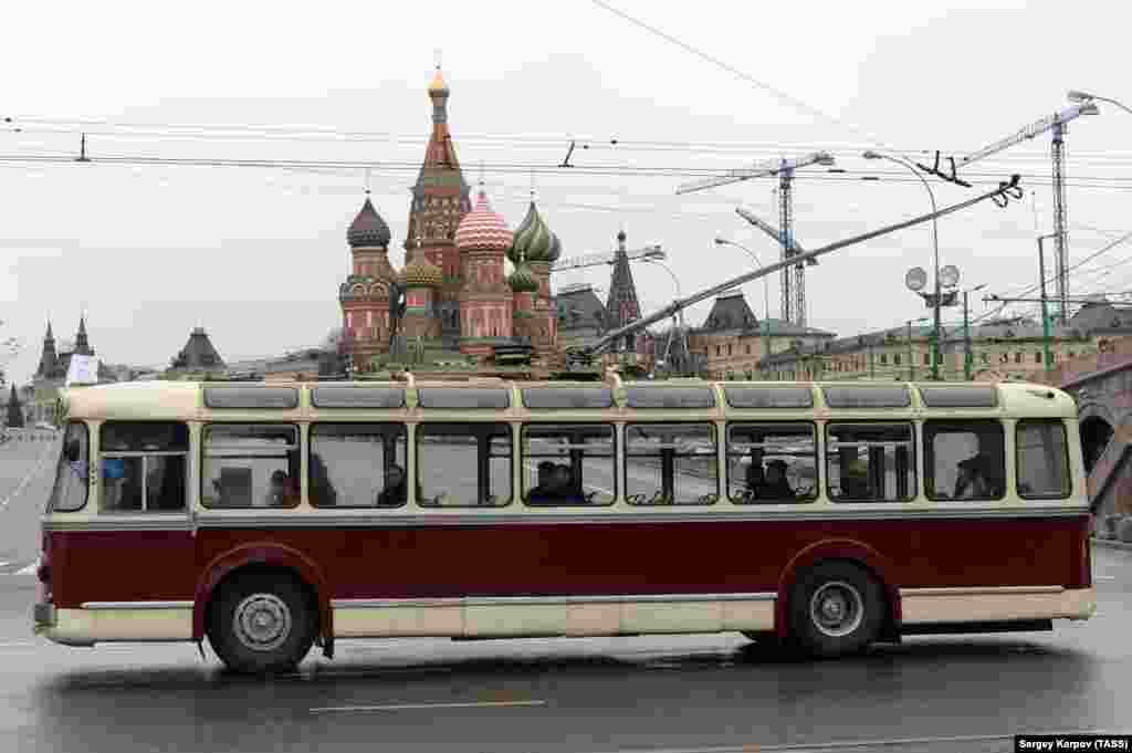 But despite the disadvantages, there is a certain amount of affection for Moscow's trolleybuses and some locals are preparing a campaign to save the transport, ugly cables and all. This vintage model, photographed in 2013, was part of a parade marking 80 years of service. Officials have announced plans to phase out the trolleybus by 2020, but some central routes are reportedly set to disappear as early as this year.