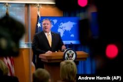 Secretarul de stat Mike Pompeo la conferința de presă pe tema Tratatului INF