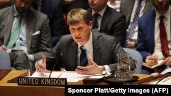 ՄԱԿ-ում Մեծ Բրիտանիայի դեսպան Ջոնաթան Ալենը Անվտանգության խորհրդի նիստի ժամանակ, Նյու Յորք, 14-ը մարտի, 2018թ․