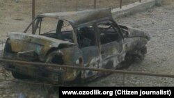 Сгоревший автомобиль Вохида Асаева.