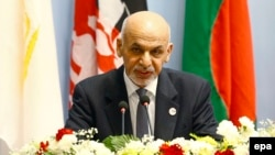 Afghan President Ashraf Ghani speaks during the opening session of the 18th SAARC summit in Kathmandu on November 26.