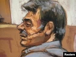 Мансур Арабсияр Нью-Йорктун Манхэттен райондук сотунда сурак берип жатканда тартылган сүрөтү. 11-октябрь, 2011