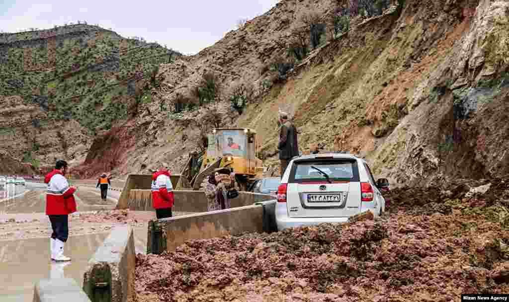 Barriers block mudslides in Khoramabad, Lorestan Province.