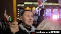 Андрэй Кудзік на мітынгу супраць інтэграцыі, 20 сьнежня