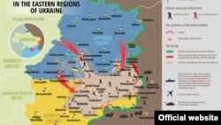 Ucraina: harta situației din zona cronfuntărilor armate, 25 iulie 2014.