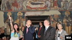 Средба на генералниот секретар на ОН Бан Ки-мун со претседателот на Македонија, Ѓорге Иванов во Охрид.