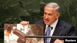Kryeministri i Izraelit, Benjamin Netanyahu, gjatë fjalimit të tij para Asamblesë së Përgjithshme të OKB-së, më 29 shtator.