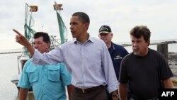 Президент Обама в терпящей бедствие Луизиане