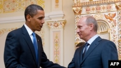 U.S. President Barack Obama and Russian Prime Minister Vladimir Putin during a meeting near Moscow in July