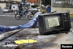 После протестов в городе Сан-Кристобаль, запад Венесуэлы