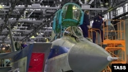 A MiG-31 aircraft being assembled in Nizhny Novgorod, Russia