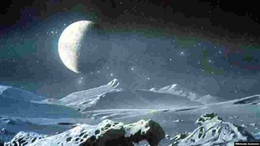 Рәссам Харонның Плутоннан карагандагы күренешен шулай күзаллый