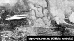 Вибух артилерійських складів і пожежа на Звіринці в Києві. Фотографія з німецького аероплана, 6 червня 1918 рік
