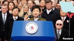 Оңтүстік Корея президенті Пак Кын Хе ұлықтау рәсімі кезінде. Сеул, 25 ақпан 2013 жыл.