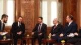 Дмитро Бєлік (крайній праворуч) і Дмитро Саблін (другий зліва) на зустрічі з президентом Сирії Башаром Асадом (в центрі), 17 січня 2019 року