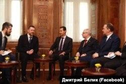 На встрече с президентом Сирии Башаром Асадом, 17 января 2019 года. В центре – Башар Асад. Дмитрий Саблин – второй слева, Дмитрий Белик – крайний справа