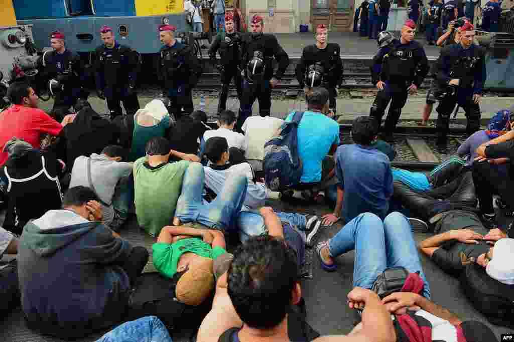 Венгриялық полицейлер Келети теміржол вокзалына жиналған босқындарды бақылап тұр.1 қыркүйек 2015 жыл.