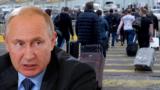 Владимир Путин и российские туристы. Коллаж