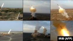 IRAN -- A combo photo reportedly show ballistic missiles being launched by Iran's Revolutionary Guard Corps (IRGC) during the last day of military exercises near sensitive Gulf waters, July 29, 2020