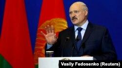 Аляксандар Лукашэнка на «Менскім дыялёгу» ў 2018 годзе, архіўнае фота