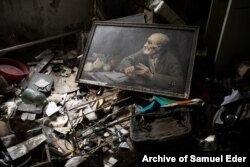 A corner of the wrecked Donbas building where hundreds of rolls of photographs were abandoned after war broke out in 2014.