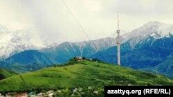 Алматы, вид на гору Коктобе.