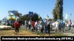 Мітинг з «продовольчої блокади» Криму в Чонгарі, 20 вересня 2015 року