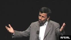 Iranian President Mahmud Ahmadinejad speaking at Columbia University in New York City on September 24, 2007.