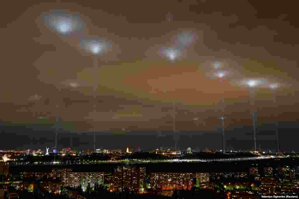 Spotlights over Kyiv from a rally of Ukrainian artists and entertainment-industry workers on May 12. They demanded financial support from the government and an easing of lockdown measures to fight the spread of the coronavirus.