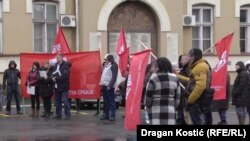 Medical staff at Serbia's leading clinic stage a warning strike over poor working conditions in Belgrade on December 24.