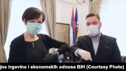 Njemačka ambasadorica u BiH Margret Uebber i ministar vanjske trgovine BiH Staša Košarac, Sarajevo, April 15, 2020.