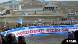 Oğuz-Qəbələ-Bakı su kəmərinin təməlqoyam mərasimi, mart 2007-ci il.