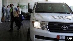 Inspektorët e OKB-së duke arritur në Damask.
