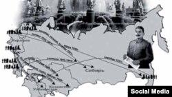 1937–44-жж. депортацияланган советтик этностор картада.