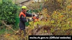 Повалене штормовим вітром дерево на вулиці Гоголя, Сімферополь, 2 вересня 2021 року
