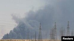 Smoke billows into the sky following a massive blaze at the Abqaiq oil-processing facility in Saudi Arabia on September 14.