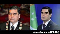 Гурбангулы Бердымухамедов, комбинированное фото за 2007 год (слева) и 2016 год (справа)