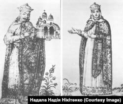 Два окремі зображення на «Княжому портреті» Софійського собору. Вони збереглися лише в замальовках 17-го століття Абрахама ван Вестерфельда. Ліворуч: зображення князя України-Русі Володимира Святославича з моделлю Десятинної церкви. Праворуч: його дружина, княгиня Анна