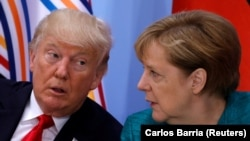 Presidenti amerikan, Donald Trump dhe kancelarja gjermane, Angela Merkel, foto nga arkivi.