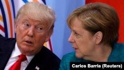 Анґела Меркель і Дональд Трамп під час саміту лідерів G20 у Гамбурзі, Німеччина, 8 липня 2017 року