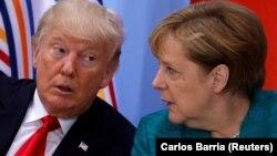 Ангела Меркель и Дональд Трамп во время саммита лидеров G20 в Гамбурге, Германия, 8 июля 2017 год