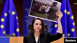 Святлана Циханоуска по време на речта си пред Европейския парламент
