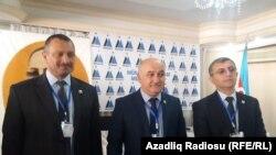 Müsvat başqanlığına namizədlər Tofiq Yaqublu (solda), Arif Hacılı və Yadigar Sadıqlı, 13 oktyabr 2019
