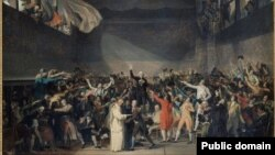 "A cropped segment of ""The Tennis Court Oath"" by Jacques-Louis David"