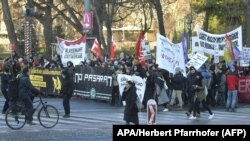 Протесты против нового правительства в Австрии. Вена, 18 декабря 2017 года. Иллюстративное фото.