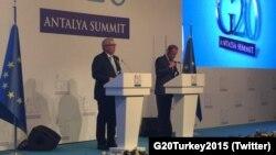 Прэс-канфэрэнцыя Дональда Туска і Жана-Клёда Юнкера перад пачаткам саміту G20