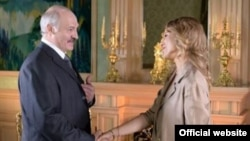 Belarusian President Alyaksandr Lukashenka (left) with Dozhd TV's Ksenia Sobchak (screen shot)