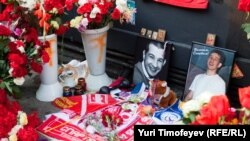 A makeshift memorial to football fan Yury Volkov, who was killed in a July 2010 street brawl.