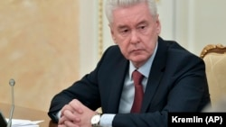 Moscow Mayor Sergei Sobyanin attending a cabinet meeting with Russian Prime Minister in Moscow on March 30.